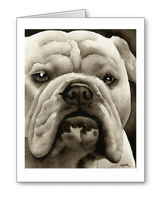 BULLDOG note cards by watercolor artist DJ Rogers
