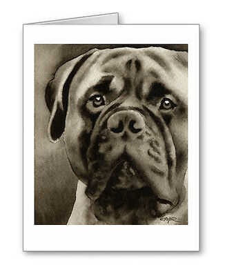 BULLMASTIFF note cards by watercolor artist DJ Rogers