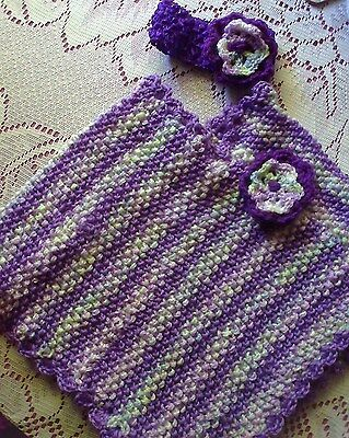 Hand Knitted Toddler Poncho with Head Band