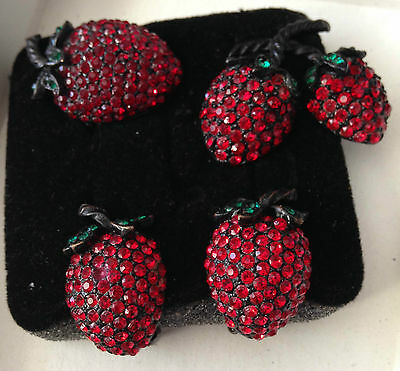 Lot 4  Weiss Red Rhinestone Strawberry Brooches Earring Sets  Pin