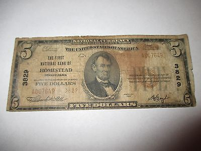 $5 1929 Homestead Pennsylvania PA National Currency Bank Note Bill! #3829 RARE!