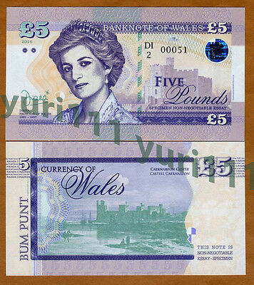 Wales (Great Britain), 5 Pounds, 2016, Private Issue, UNC   Princes Diana