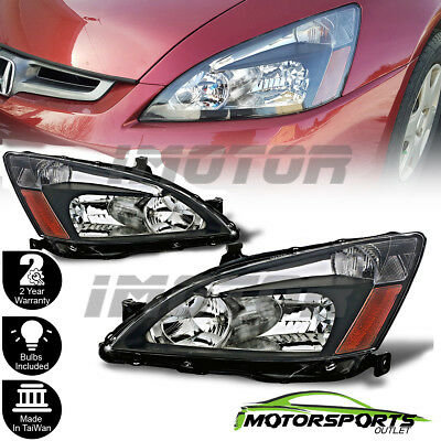For 2003 2004 2005 2006 2007 Honda Accord Factory Style Black Headlights Pair