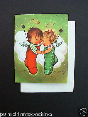 Unused Charlot Byj Byi Xmas Greeting Card Cute Boy & Girl Angel Inside Stockings