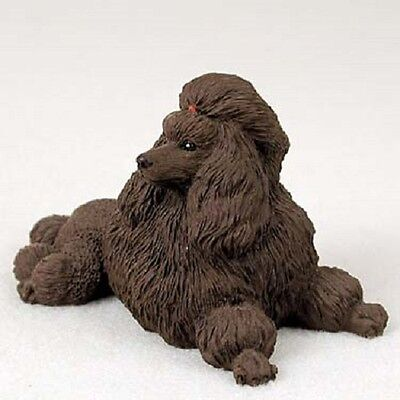 CHOCOLATE POODLE dog HAND PAINTED COLLECTIBLE Statue Brown puppy FIGURINE Show