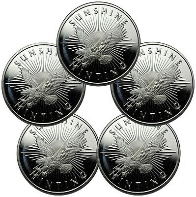 Lot of 5 - Sunshine Minting, Inc. 1 Troy oz. .999 Fine Silver Round SKU32206