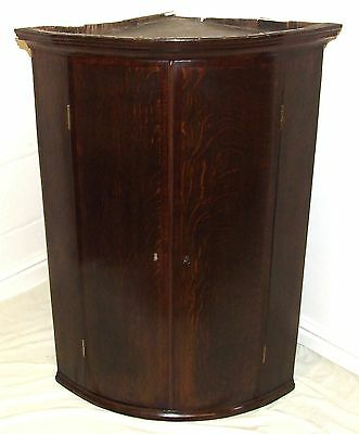 Antique GEORGIAN Inlaid Oak & Mahogany Bow Fronted Corner Cupboard (19) • £395.00