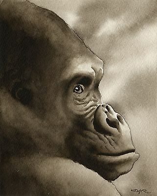 GORILLA note cards by watercolor artist DJ Rogers