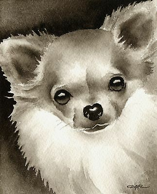 LONG COAT CHIHUAHUA note cards by watercolor artist DJ Rogers
