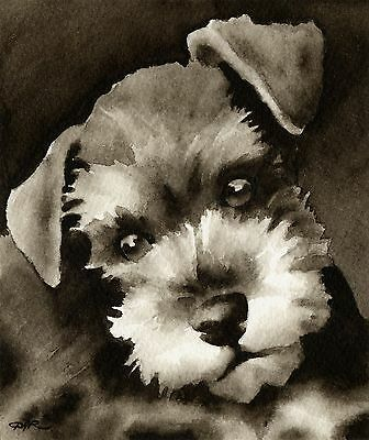MINIATURE SCHNAUZER PUPPY note cards by watercolor artist DJ Rogers