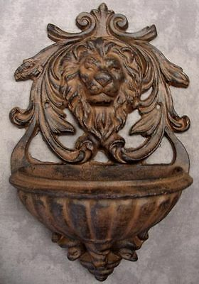 MAJESTIC LION HEAD SCULPTURE Cast Iron HOME GARDEN WALL PLANTER