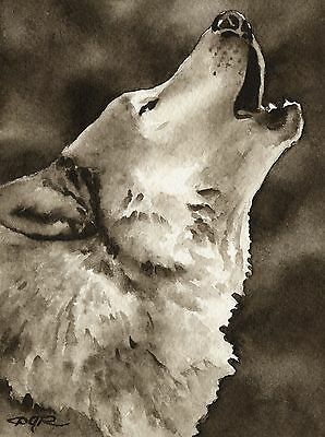 WOLF HOWLING note cards by watercolor artist DJ Rogers