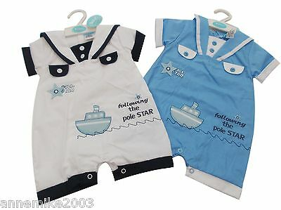 BNWT Baby boys sailor all in one romper clothes outfit  0-3 m  3-6m  6-9 mths
