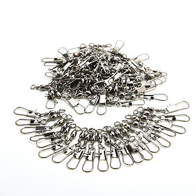 New 100pcs Barrel Swivel with Safty Snap Connector Solid Rings Fishing #7 +B