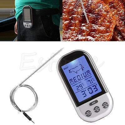 Wireless Remote Thermometer BBQ Food Cooking Meat Barbecue Digital Thermometer
