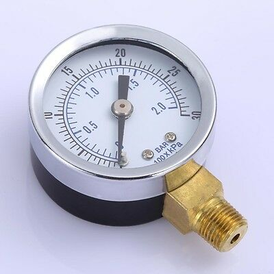 "1/8"" 0-30 PSI NPT Air Compressor / Hydraulic Pressure Gauge Side Mount 1.5"" Face"
