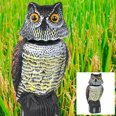 Owl Decoy With Rotating Head Bird Pigeon Crow Scarer Scarecrow Large Realistic