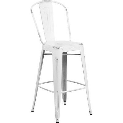 30'' High Distressed White Metal Indoor Barstool With Back [Et-3534-30-Wh-Gg]