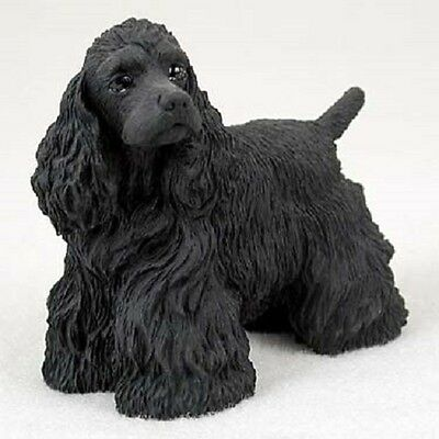 COCKER SPANIEL dog FIGURINE black puppy HAND PAINTED COLLECTIBLE resin statue
