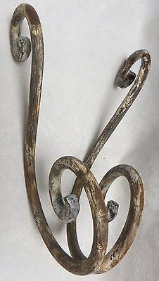 Gorgeous Primitive Architectural Scroll Hook Forged Wrought Iron with Old Paint