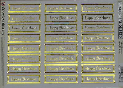 24 HAPPY CHRISTMAS die cut banners (#150G) - white/gold