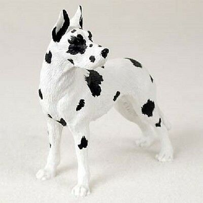 GREAT DANE Dog FIGURINE Harlequin cropped HAND PAINTED COLLECTIBLE Statue puppy
