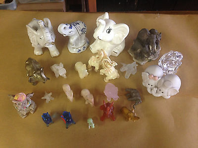 Lot of 22 Elephant Figurines, Estate Sale Collection - GREAT!
