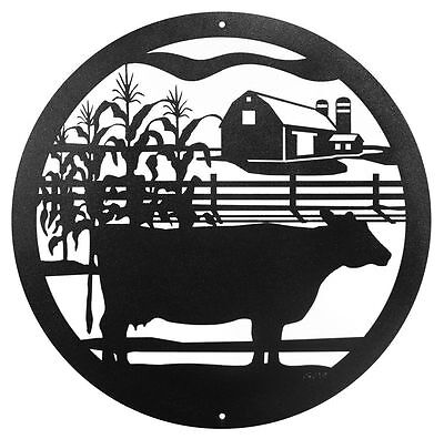 "SWEN Products FARM NON SPOTTED COW Steel 12"" Scenic Art Wall Design"