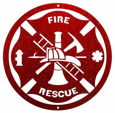 "SWEN Products FIRE RESCUE Steel 12"" Scenic Art Wall Design"