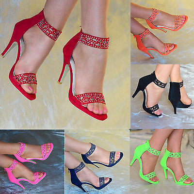 Ladies Cut-Out Rhinestone High Heel Ankle Strap Cuff Open Toe Shoes Sandals 3-8