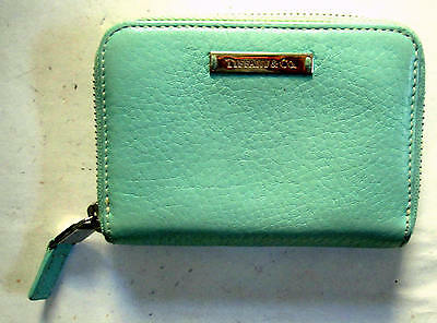 """Tiffany & Co Textured Turquoise Blue Zippered Card Case 3.15"""" x 4.35"""" NEW"""