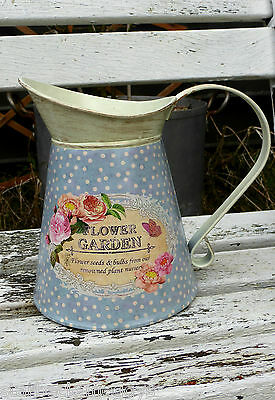 SHABBY CHIC JUG PITCHER FLOWER GARDEN WITH BUTTERFLIES blue COLOUR VINTAGE LOOK