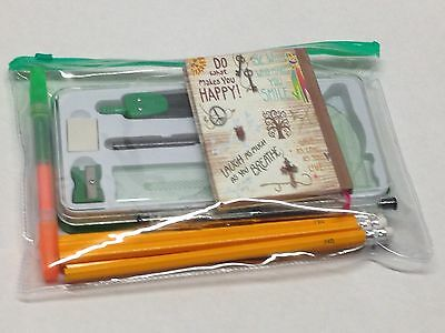 Maths set clear plastic case geometry ruler protector compass squares gift kit