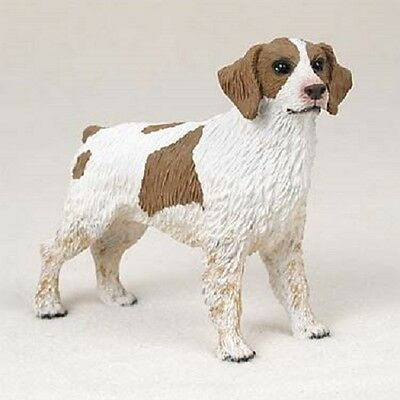 BRITTANY Dog HAND PAINTED FIGURINE Resin Statue Collectible BROWN WHITE Puppy