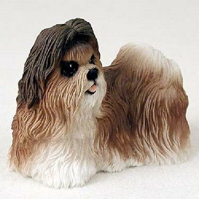 SHIH TZU Dog HAND PAINTED FIGURINE Resin Statue Collectible TAN BROWN Puppy NEW