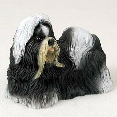 SHIH TZU Dog HAND PAINTED FIGURINE Resin Statue Collectible BLACK WHITE Puppy