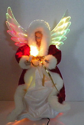Sightsational Fiber Optics ANGEL Christmas Tree Topper Holding Candle