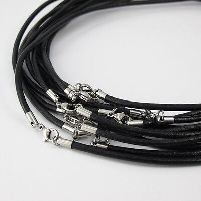 "24 Wholesale Lot Silver Stainless Steel Clasps 18"" - 19"" Black Leather Necklace"