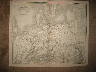 Antique 1827 Central Europe Map German Confederation Germany Prussia Poland Nr