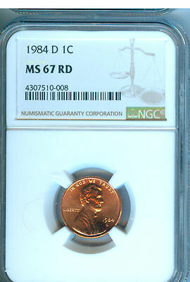 1984-D Lincoln Penny Ngc Ms-67 Red  Second Finest Graded