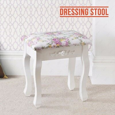 Vintage Stool Dressing Table Piano Chair W/ Floral Decor Makeup Seat