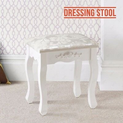 White Vintage Dressing Table Stool Piano Chair Padded Makeup Seat