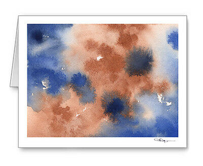 ABSTRACT BLUE  AND BROWN Note Cards With Envelopes