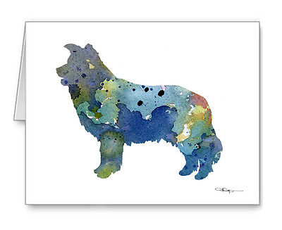 BLUE BORDER COLLIE Note Cards With Envelopes