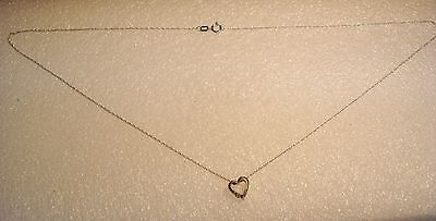 Diamond Heart Pendant With Chain Necklace 10K White Gold 18 Inch N622-U