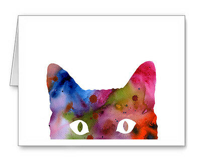 ABSTRACT CAT Note Cards With Envelopes