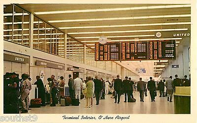 c1960 Terminal Interior View, O'Hare Airport, Chicago, Illinois Postcard