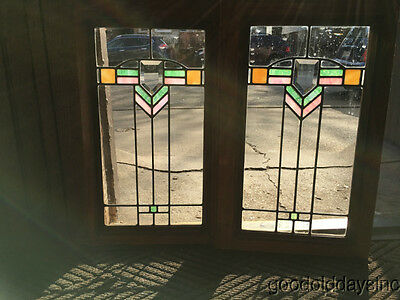 2 Small Prairie Style Stained Leaded Glass Window Door w Beveled Glass Oak Frame