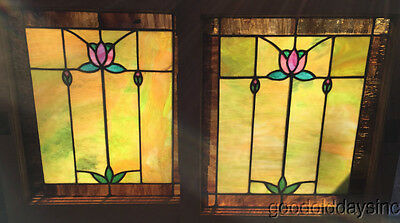 "Beautiful Pair of Antique Stained Leaded Glass Window Windows 23"" x 20"""