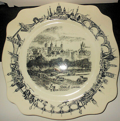 c1940s There'll Always Be an England, Towers of London Plate, C. Cliff Border